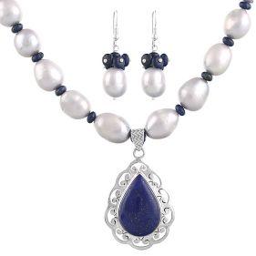Set unicat din lapis lazuli, perle naturale baroc si argint