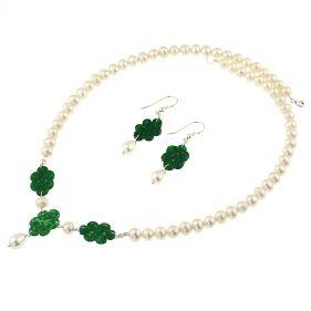 Set unicat din perle naturale, jad Myanmar si argint