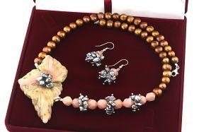 Set unicat opal de Peru, perle naturale Biwa si perle maro