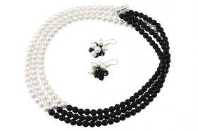 Set Yin-Yang din perle naturale si onix